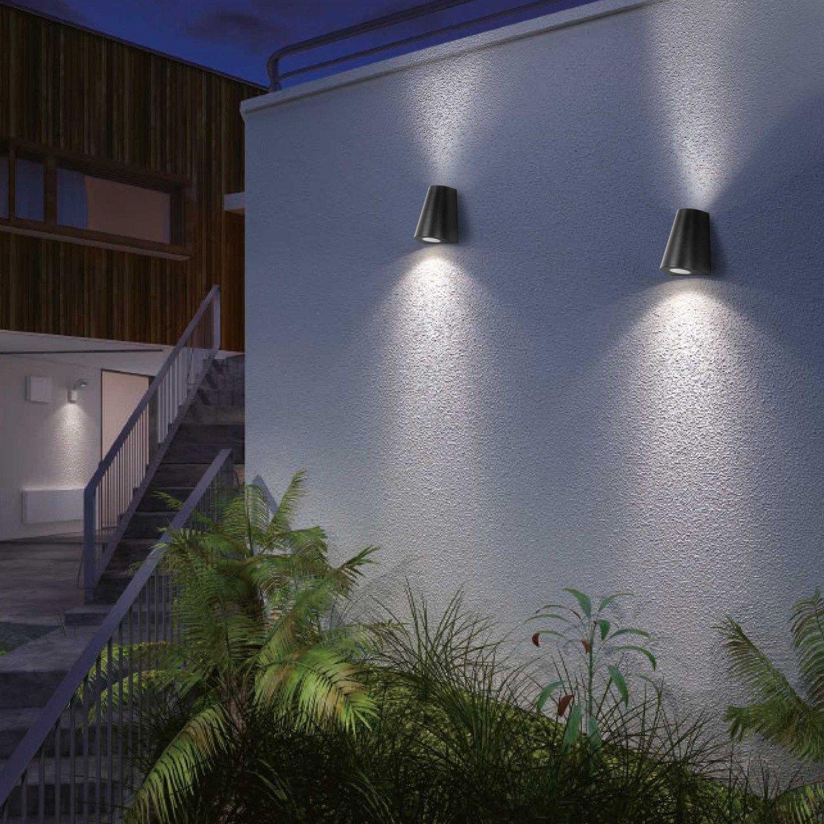 Wandspot Cone up & downlighter zwart, moderne wandverlichting voor buiten, buitenverlichting van KS Verlichting, conisch vormgegeven gevelspot