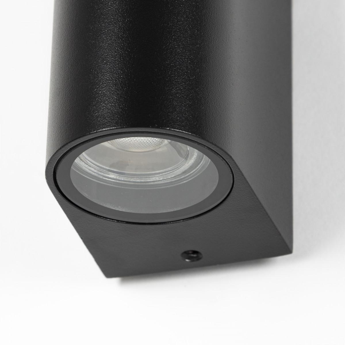 KS Verlichting, moderne wandverlichting voor buiten, wandspot flash, zwart, up en downlighter, 2 lichtbundels, boven en beneden, straks vormgegeven gevelspot