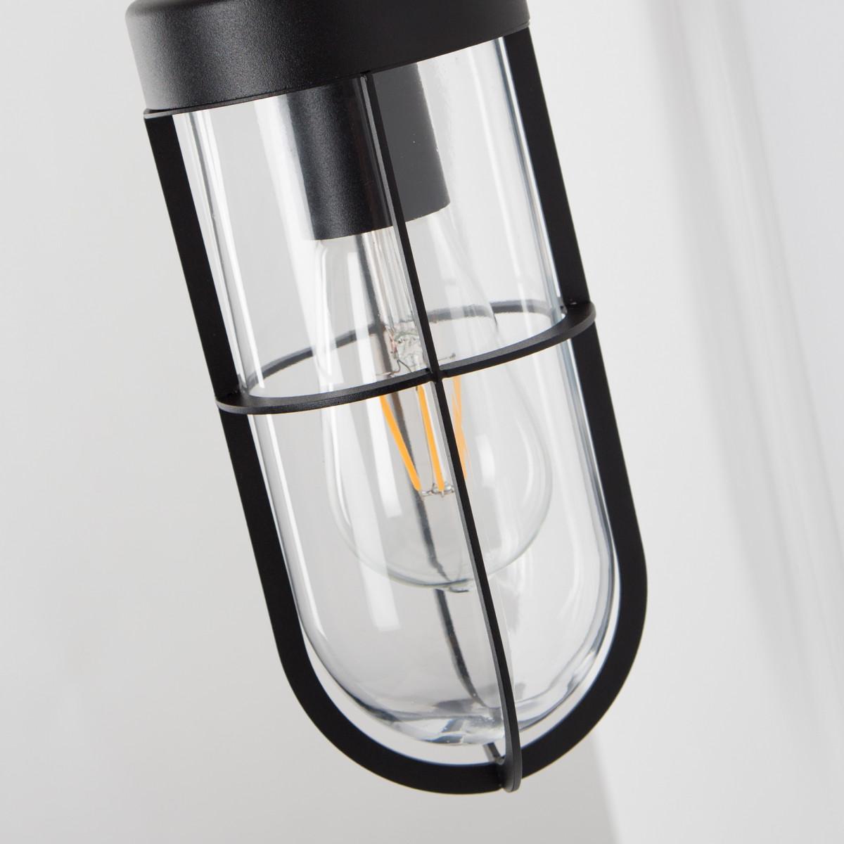 Zwarte buitenlamp voor aan de muur, type stallamp, strak moderne stijl, glazen stolp met raster, frame buis, ronde achterplaat, moderne buitenverlichting