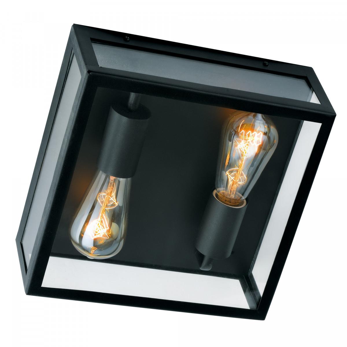 zwarte plafondlamp ook als wandlamp toepasbaar, vierkant zwarte frame, grote heldere glazen, twee zichtbare lichtbronnen, stijlvolle plaffoniere