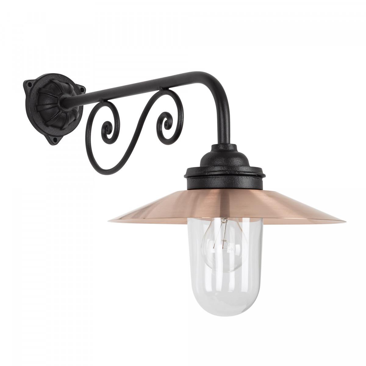 Stallamp Ardennes franse stallampen gemaakt van gietijzer en koper met een heldere glazen stolp, onderhoudsvriendelijke buitenverlichting van KS Verlichting