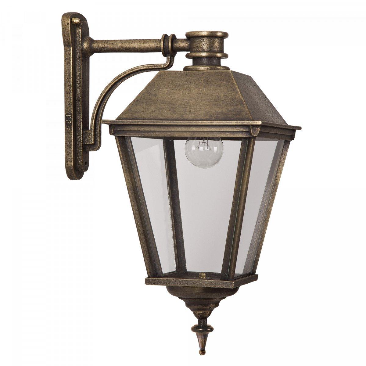 buitenverlichting, klassieke buitenlamp van KS Verlichting, massief bronzen gevellantaarn in strak klassiek landelijke stijl, exclusieve unieke KS verlichting voor aan de gevel, buitenlamp Halle M Brons