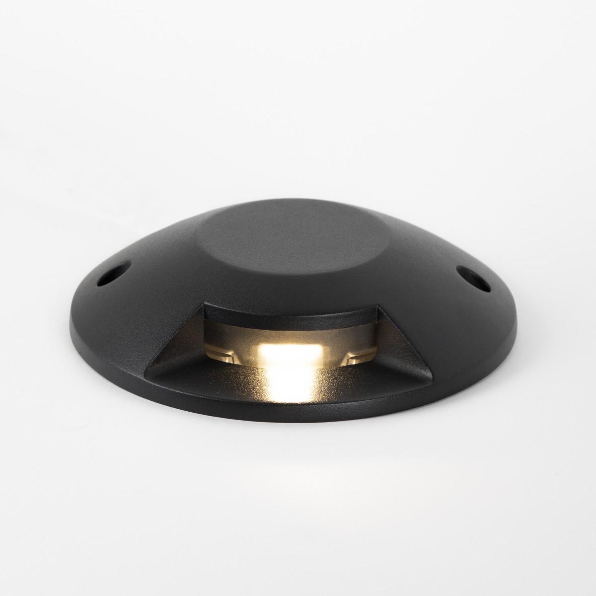Evo deckspot 1 lichts zwart een opbouw grondspot met LED, geeft een mooi strijklicht naar één zijde, zwart armatuur, lichtkleur 3000 Kelvin, 400 lumen