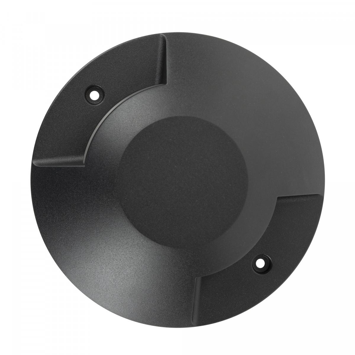 Zwarte vloerspot met geïntegreerd led, strijklicht aan 2 zijden, de Evo deckspot 2 lichts heeft een ronde vormgeving, 2 lichtbundels, een opbouw grondspot