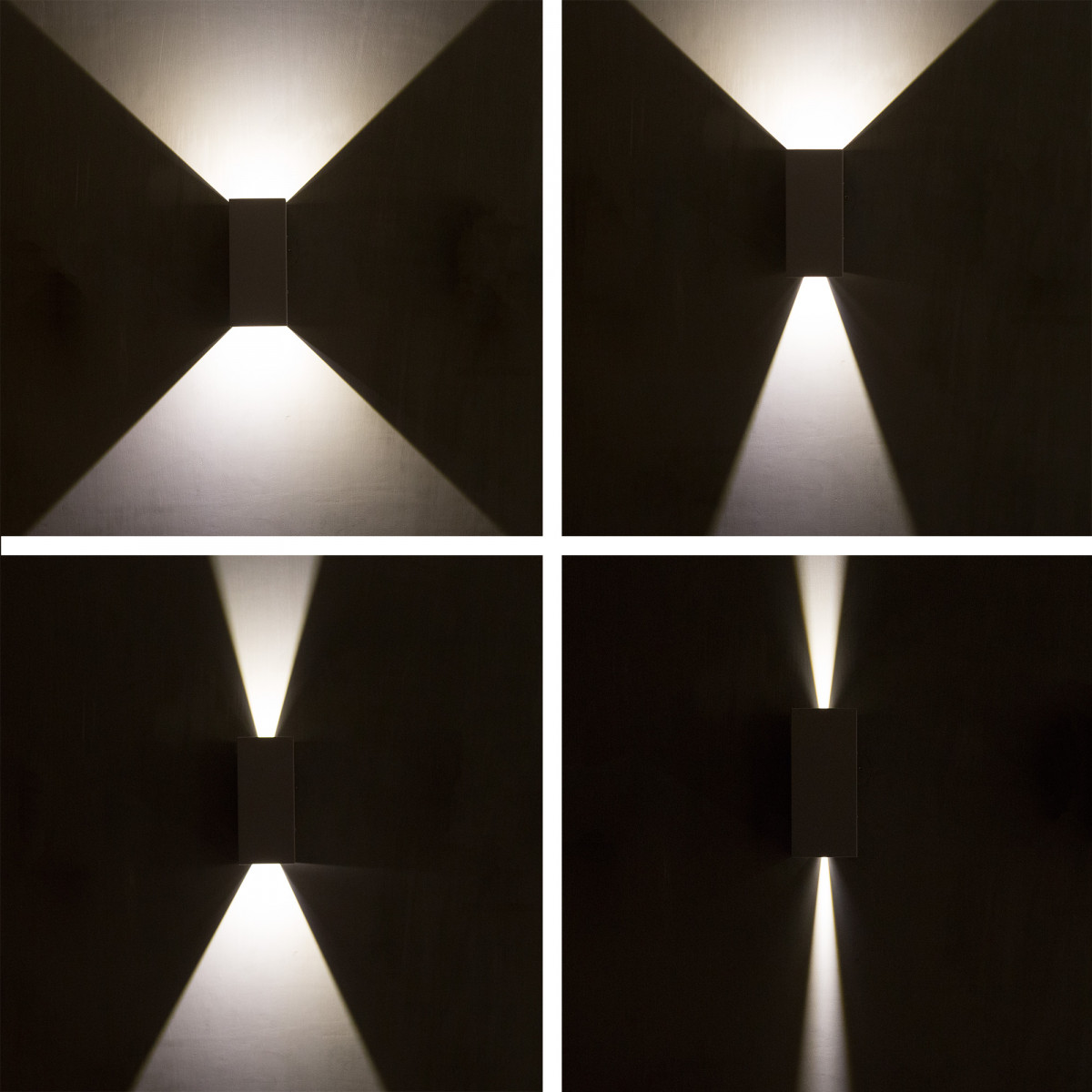 Antraciete rechthoekige buitenwandlamp met geïntegreerd led lichtbundels up en down zijn met shutters instelbaar, prachtige wandspot voor accentverlichting op de buitenmuur