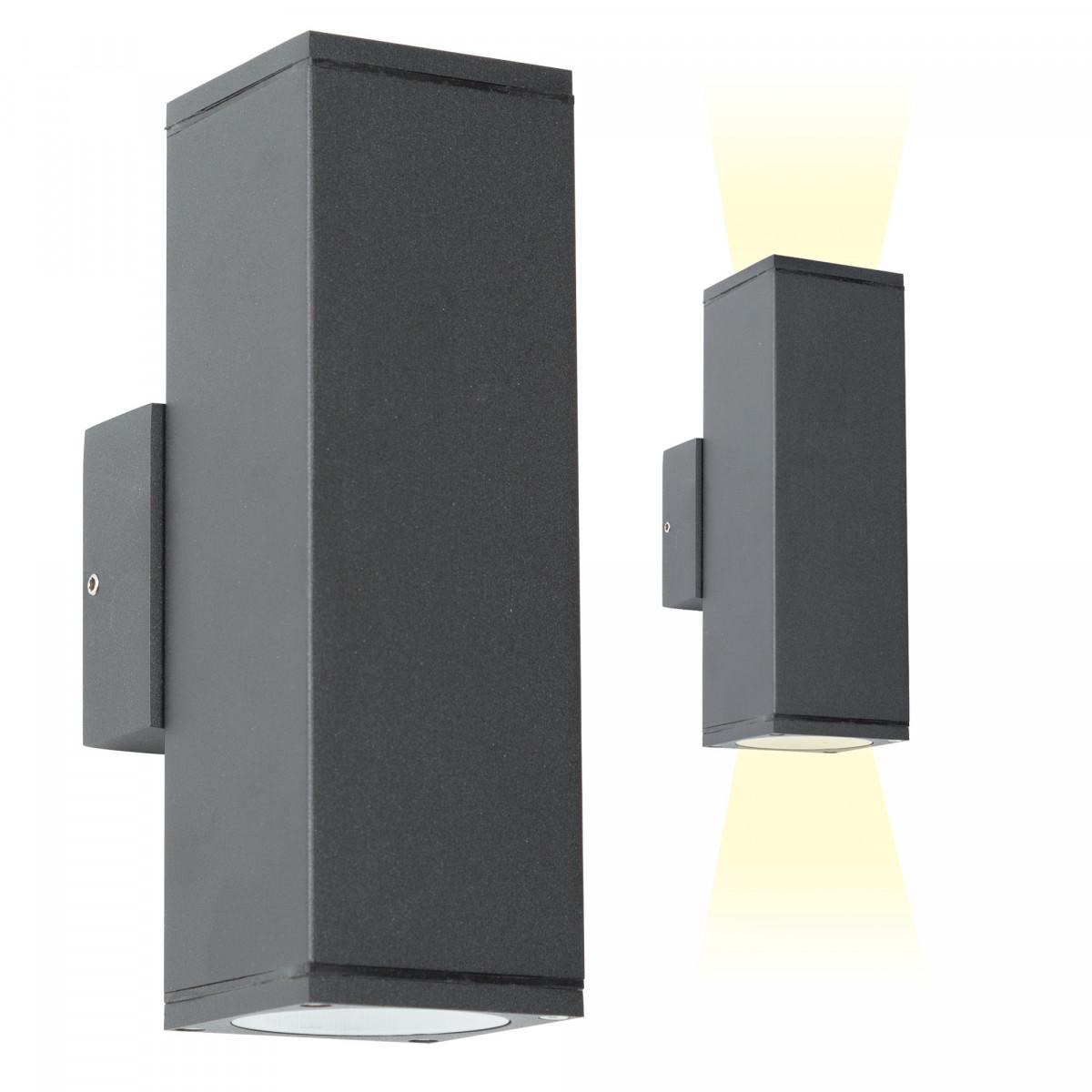 Wandspot Kelvin Up en Down, moderne wandverlichting in de kleur Antraciet, strak vormgegeven wandspot met 2x GU10 fitting, zeer geschikt als gevelverlichting, gevelspot, modern karakter, smaakvol design