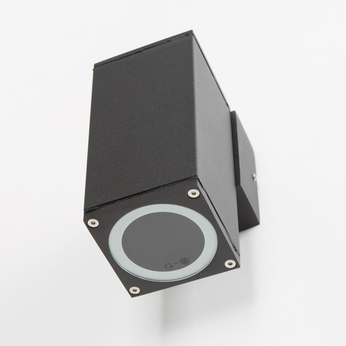 wandspot kelvin down, moderne wandverlichting van KS verlichting, hoogwaardige kwaliteit gevelverlichting, aluminium strak vormgegeven gevelspot met zwarte finish, kwaliteitsverlichting van KS