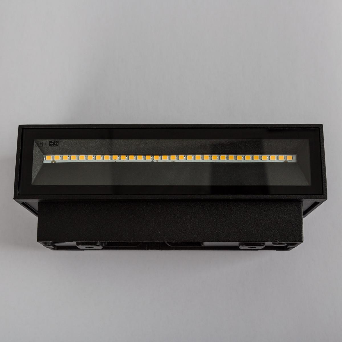 Muurspot Segment medium, LED gevelverlichting, up and downlighter, zwart