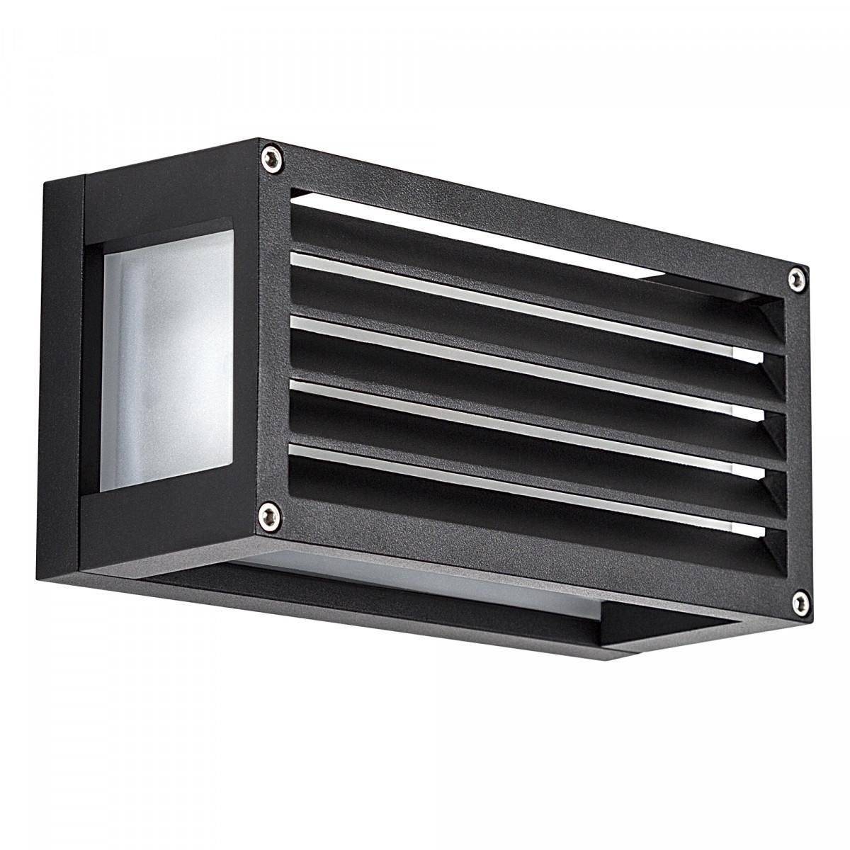 zwarte muurlamp met matte beglazing, zwarte frame met lamellen, box design wandlamp voor buiten, e27 fitting niet zichtbaar, moderne buitenmuur verlichting