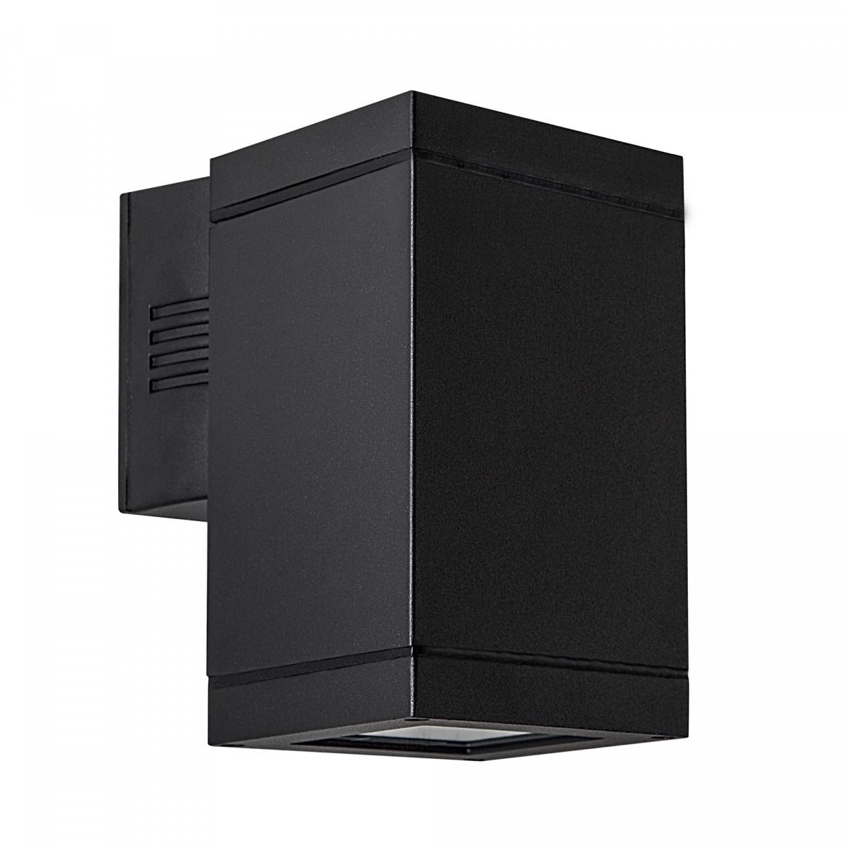 Moderne wandverlichting, KS wandspot Solid XL Down, downlighter, gevelspot, kubus vorm, aluminium met een stijlvolle krachtige zwarte finish, KS kwaliteitsverlichting