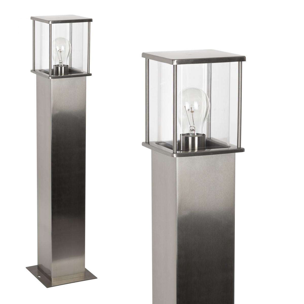 rvs tuinlamp, staande buitenverlichting, vierkante paal met box design lantaarnkap, heldere beglazing, rondom lichtval, E27 fitting, 70cm hoog