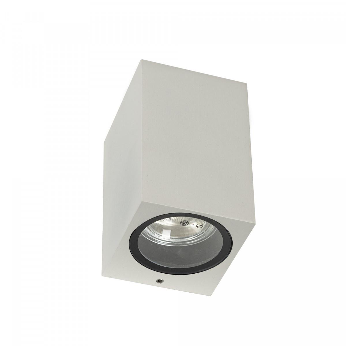 Wandspot van KS Verlichting, moderne wandverlichting, gevelspot kubus vierkant, prachtig design buitenverlichting met stijlvolle witte finish, KS kwaliteitsverlichting