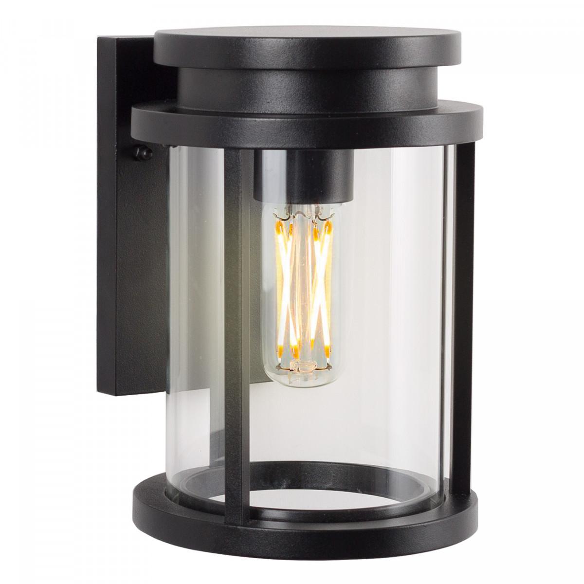 Zwarte buitenlamp met heldere beglazing, rechthoekige achterplaat  voor aan de wand, ronde lantaarnkap, zwart frame, strak moderne verlichting voor buiten