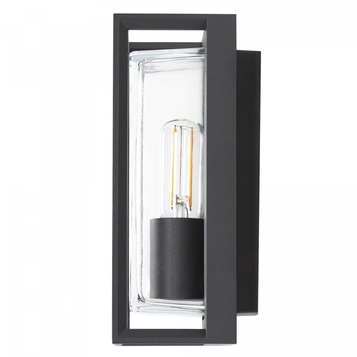 wandlamp voor aan de buitenmuur, box design, strak moderne buitenverlichting voor aan de wand, antraciet frame en heldere beglazing