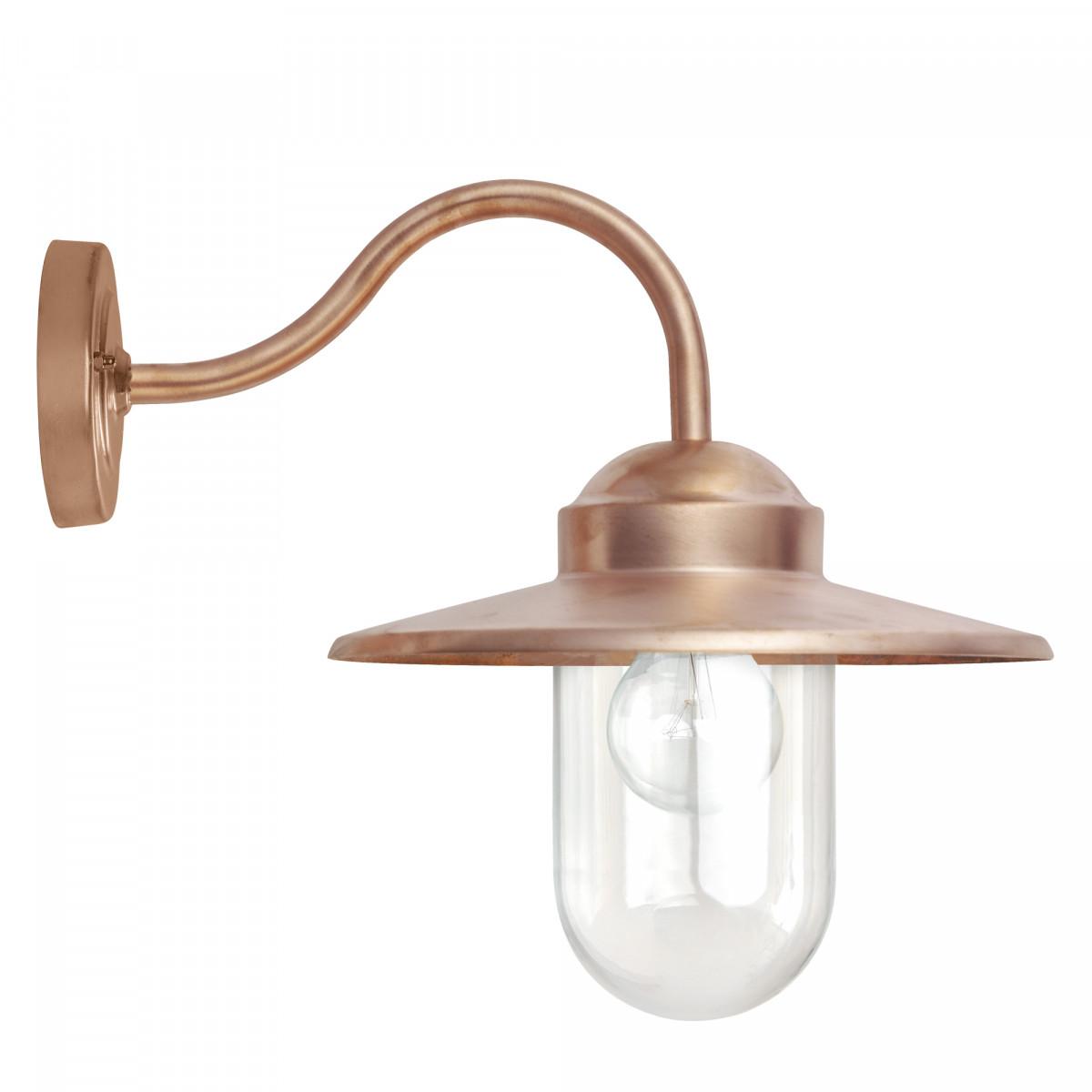 muurlamp Dolce koper, buitenlamp type stallamp met glazen stolp, koperen buitenverlichting van KS Verlichting