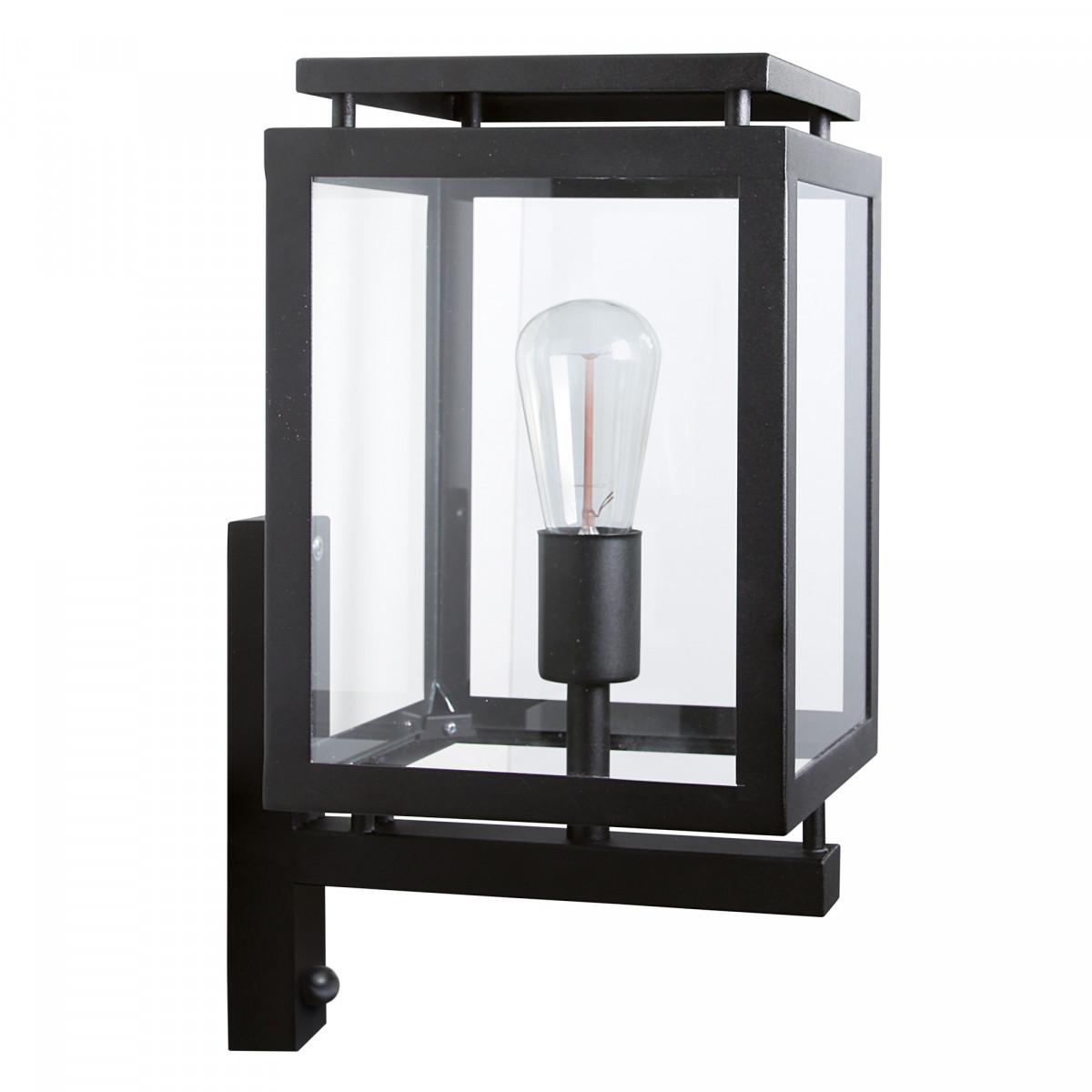buitenlamp met bewegingssensor, strak klassieke buitenverlichting type De Vecht, originele KS kwaliteitsverlichting, gevelverlichting in een mat zwarte uitvoering, stijlvolle eigentijdse lantaarn voor buiten van KS Verlichting