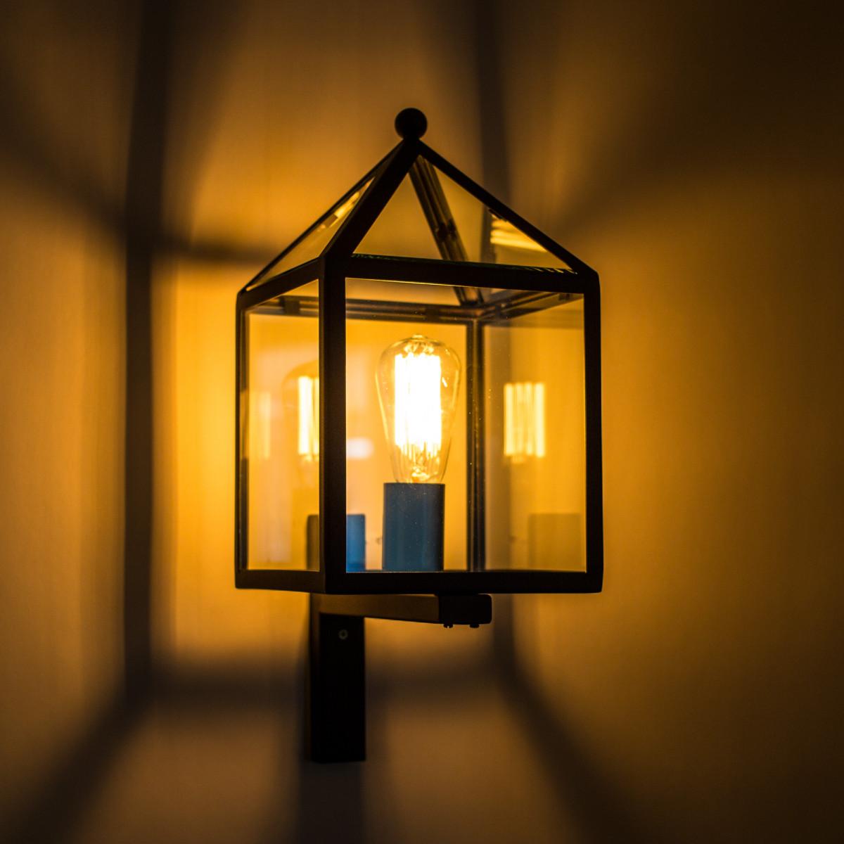 Buitenlamp huisjes model, zwart RVS frame, heldere beglazing, stijlvolle gevelverlichting,  KS kwaliteitsverlichting
