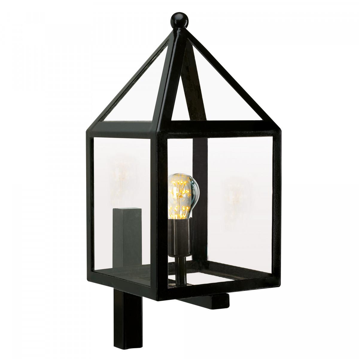 Zwarte wandlamp voor buiten zwart rvs frame en wandsteun, heldere beglazing, huis model,  gooise stijl klassiek moderne buitenverlichting