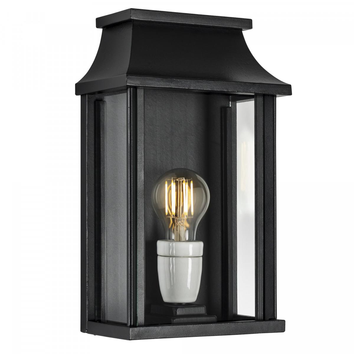 zwarte buitenlamp met vlakke achterzijde, stijlvol klassiek vormgegeven hoogwaardige kwaliteit met de handgemaakte wandlamp