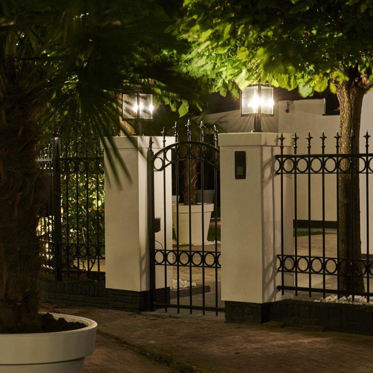 tuinlamp Vecht sokkel, strak klassieke tuinverlichting met heldere beglazing, stijlvolle klassieke buitenverlichting, tijdloos design, voor de moderne tuinen, terrasverlichting, buitenlamp voor het verlichten van een gemetselde kolom, pilaster, penant, po