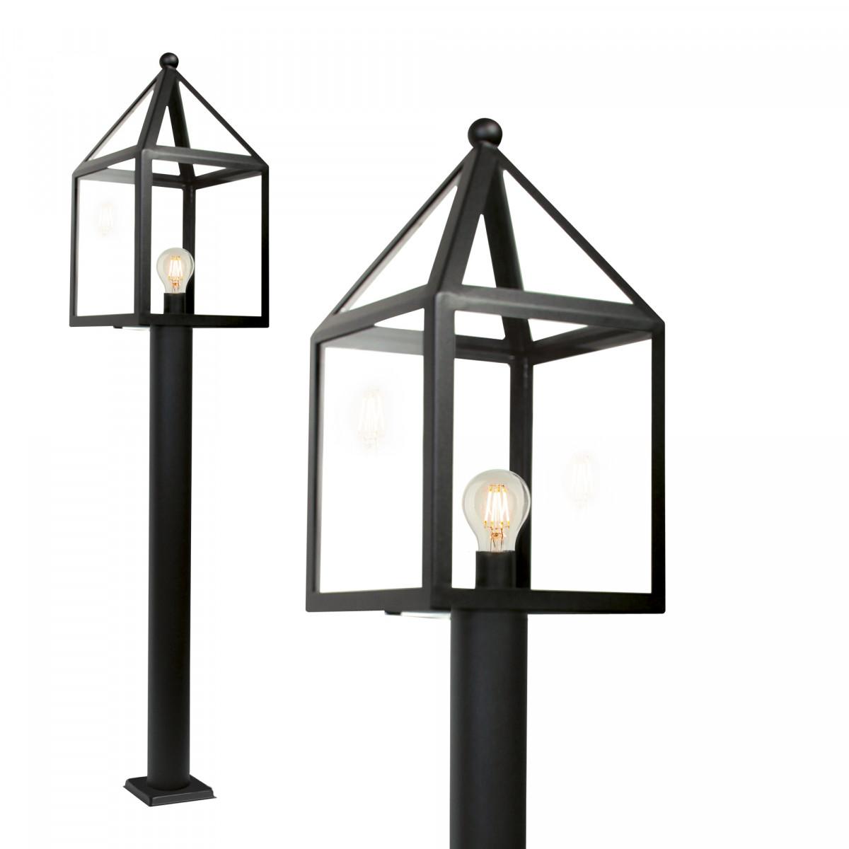 tuinlamp leusden terras 115cm hoge staande buitenlamp zwart, lantaarnkap zwart frame, huisjes model, glazen vensters, lichtbron zichtbaar
