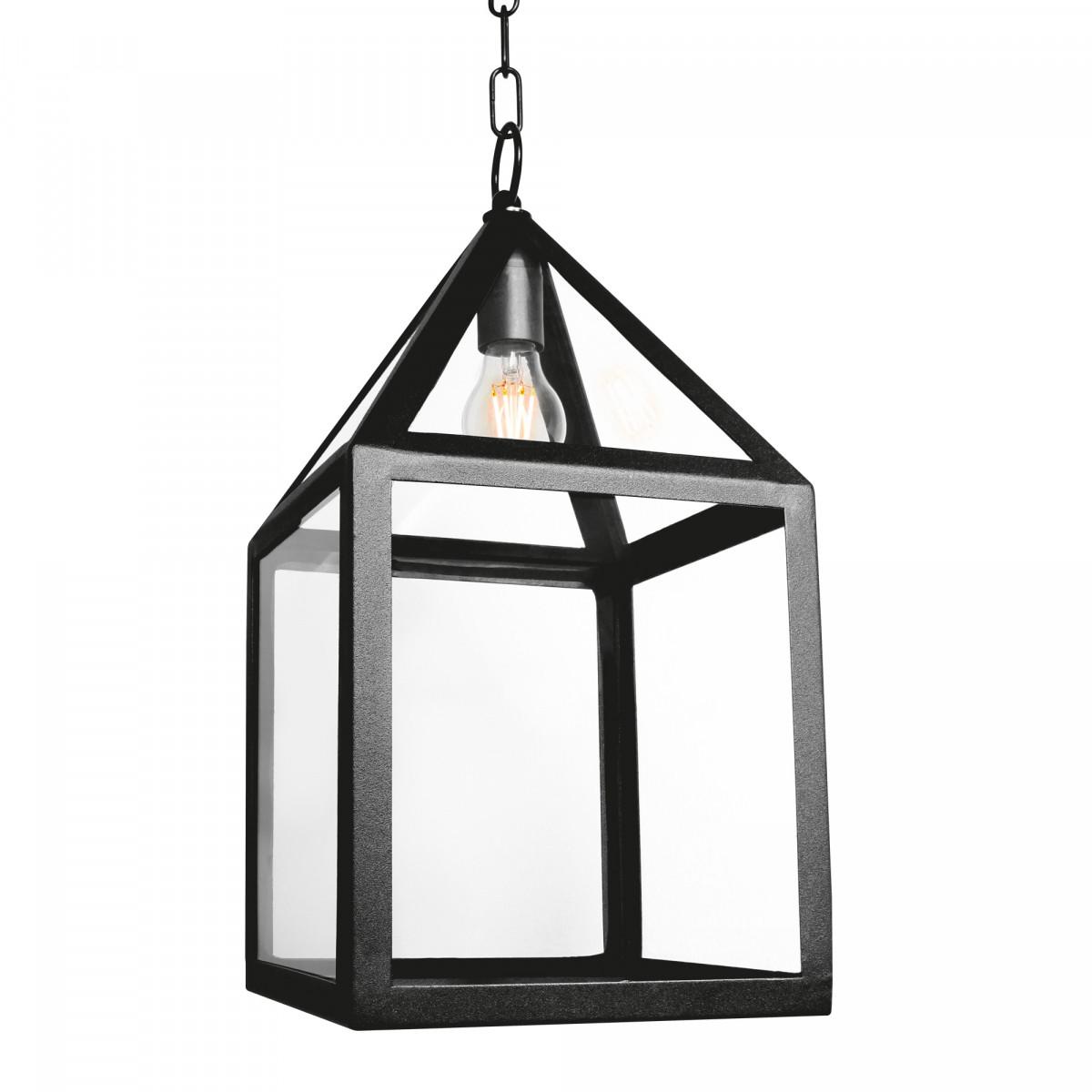 hanglamp aan ketting, zwart frame, huisjes stijl, heldere vensters