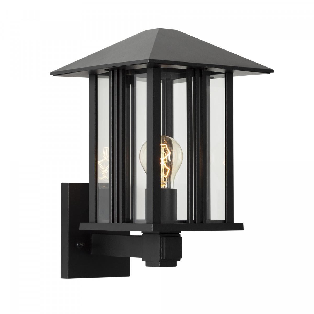 zwarte buitenlamp modern klassiek, KS wandlamp voor buiten met heldere beglazing