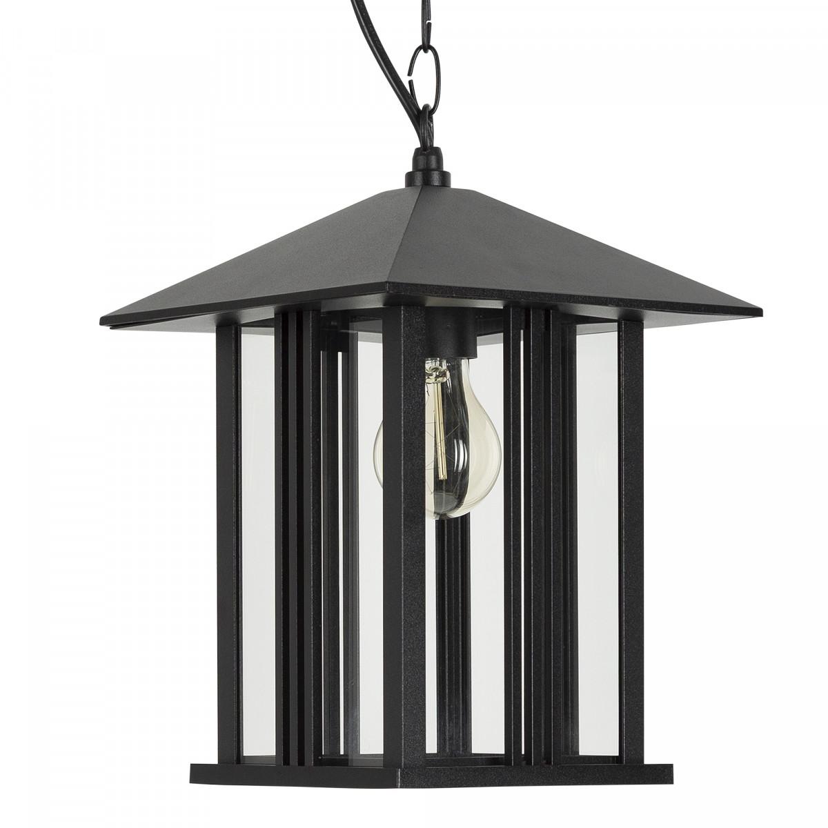 zwarte hanglamp aan ketting inclusief plafondplaat, heldere beglazing, e27 fitting, verandalamp, lamp aan ketting voor buiten onder afdak