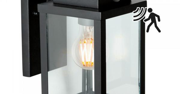 Buitenlamp Met Sensor Zwart.Wandlamp Jersey M Incl Sensor