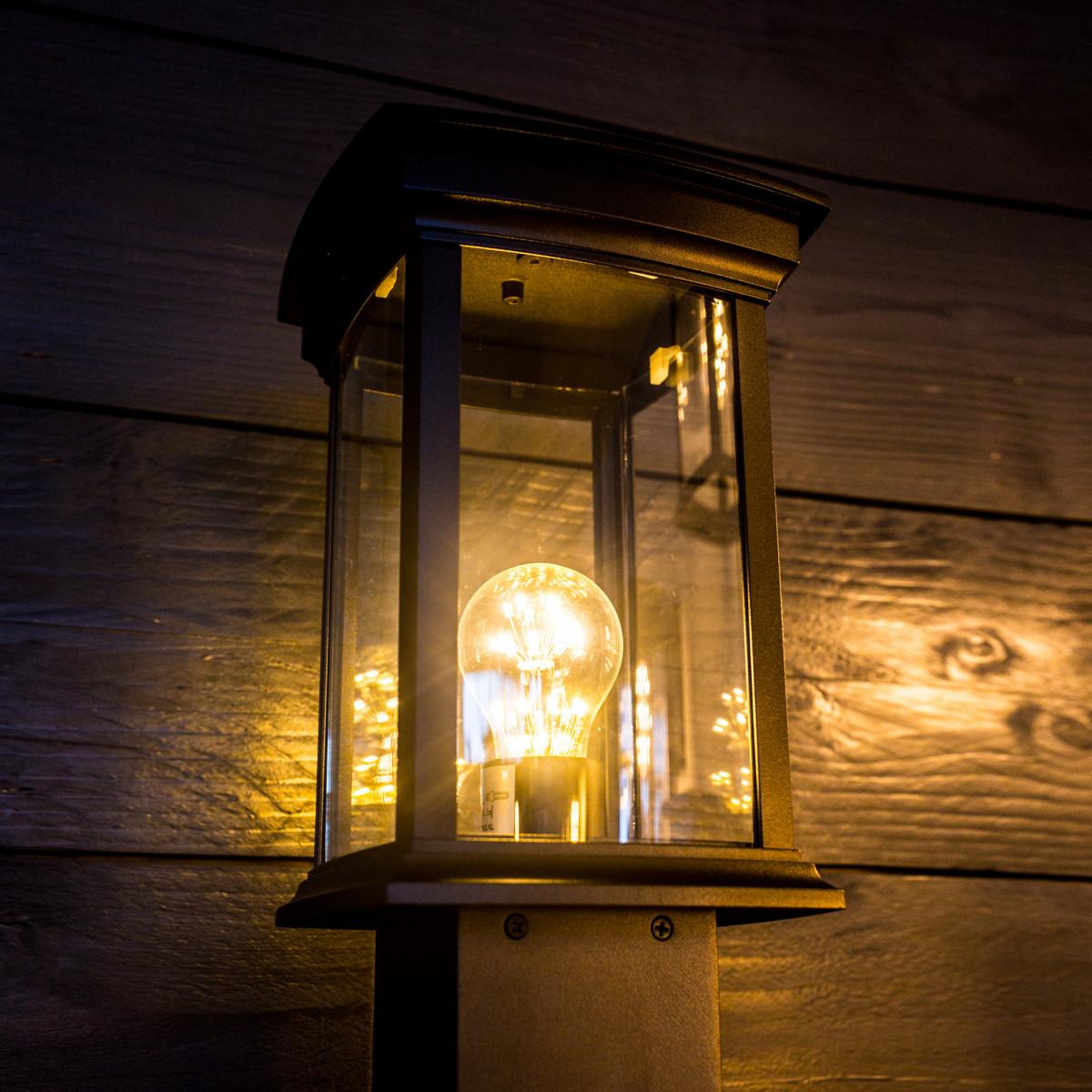 Tuinlamp Carlton, terraslantaarn 80cm hoog, stijlvol modern klassieke tuinverlichting, heldere beglazing, E 27 lampvoet, zwarte poedercoating