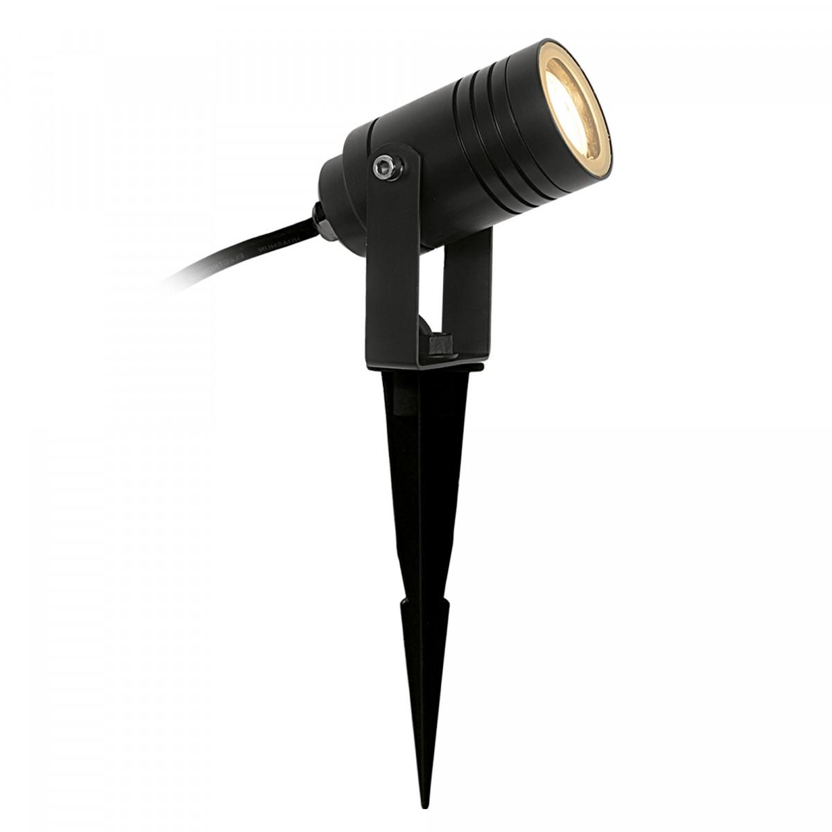 Tuinspot Beamy S zwart met grondspie snoer en stekker gemakkelijk te plaatsen tuinverlichting van KS Verlichting