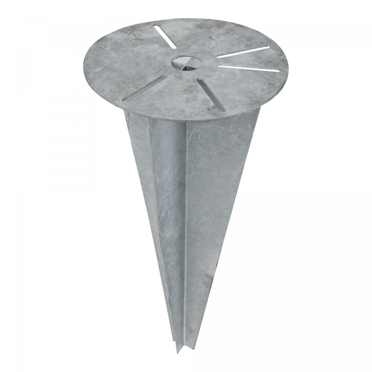 grondspie gepantserde geheel verzinkte verankeringspaal met een ronde plaat is Ø21cm en de grondspie gaat 50cm diep