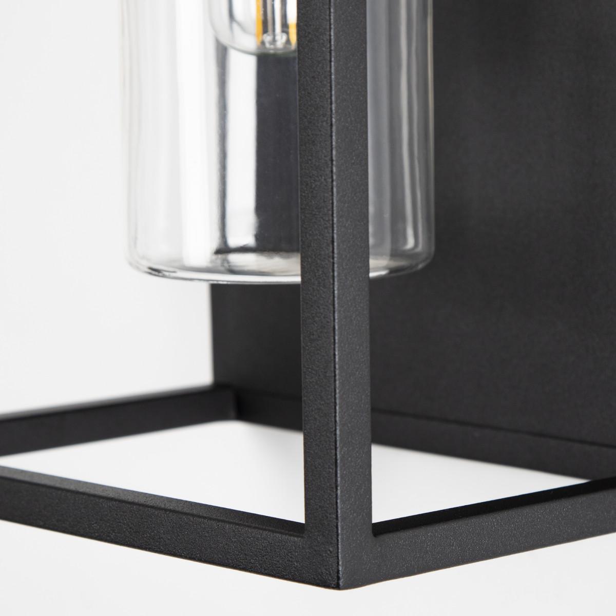 Buitenlamp Hudson zwart, trendy buitenverlichting, stijlvol design, materiaal RVS, zwarte coating, modern box design buitenverlichting van KS Verlichting