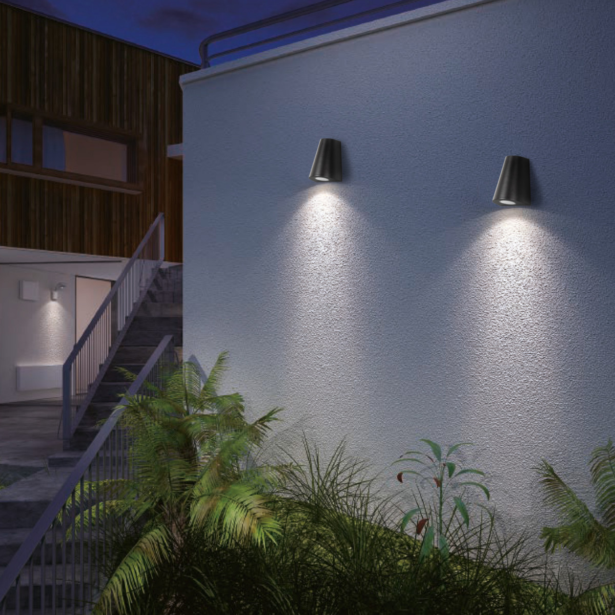 Buitenlamp Cone Downlighter, moderne wandverlichting voor indoor & outdoor, conisch vormgegeven in mooie roest kleur, corten staal kleur, KS kwaliteitsverlichting
